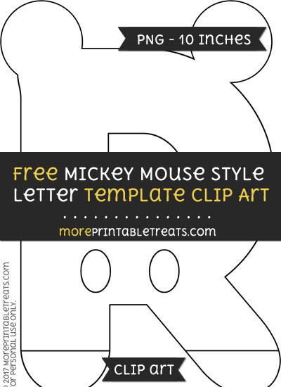 Free Mickey Mouse Style Letter R Template - Clipart