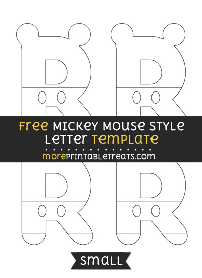 Free Mickey Mouse Style Letter R Template - Small