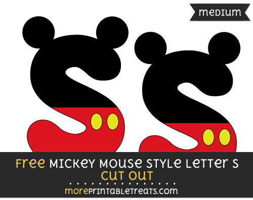 Free Mickey Mouse Style Letter S Cut Out - Medium Size Printable