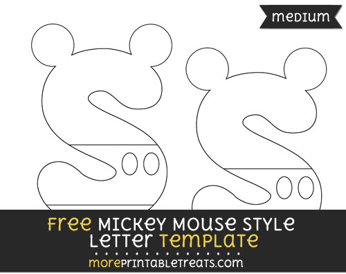 Free Mickey Mouse Style Letter S Template - Medium