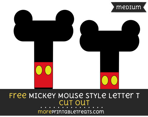 Free Mickey Mouse Style Letter T Cut Out - Medium Size Printable