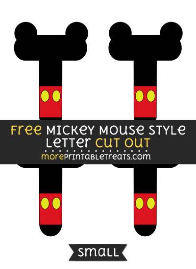 Free Mickey Mouse Style Letter T Cut Out - Small Size Printable