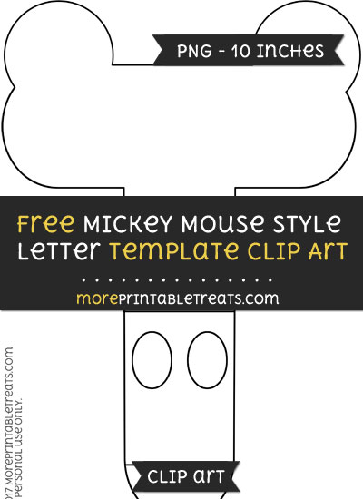Free Mickey Mouse Style Letter T Template - Clipart