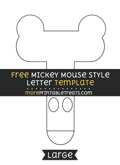 Free Mickey Mouse Style Letter T Template - Large