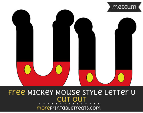 Free Mickey Mouse Style Letter U Cut Out - Medium Size Printable