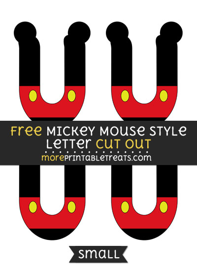 Free Mickey Mouse Style Letter U Cut Out - Small Size Printable