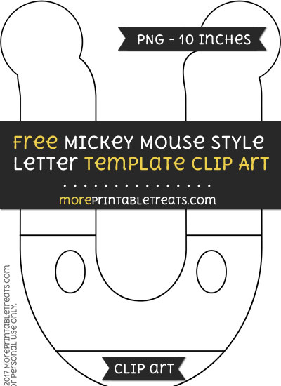 Free Mickey Mouse Style Letter U Template - Clipart