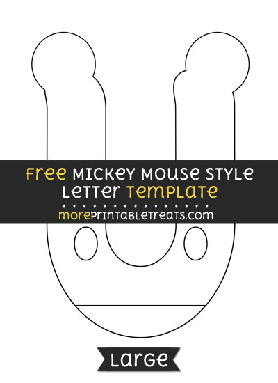 Free Mickey Mouse Style Letter U Template - Large