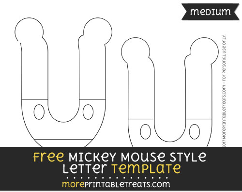 Free Mickey Mouse Style Letter U Template - Medium