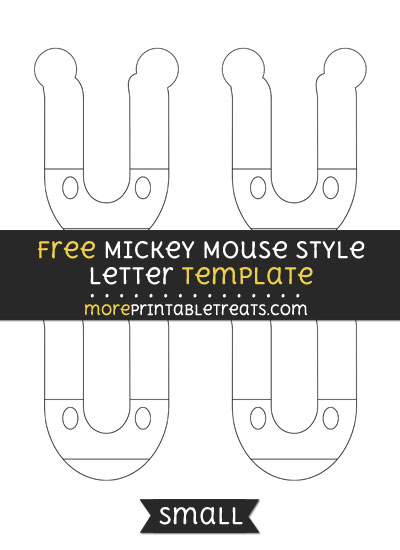 Free Mickey Mouse Style Letter U Template - Small