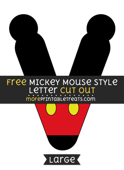 Free Mickey Mouse Style Letter V Cut Out - Large size printable
