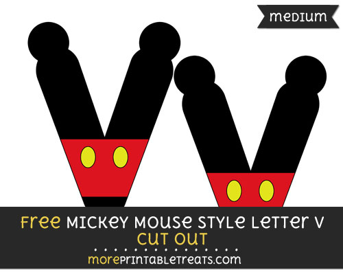Free Mickey Mouse Style Letter V Cut Out - Medium Size Printable