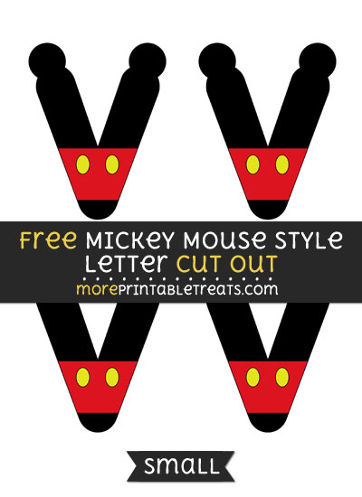Free Mickey Mouse Style Letter V Cut Out - Small Size Printable