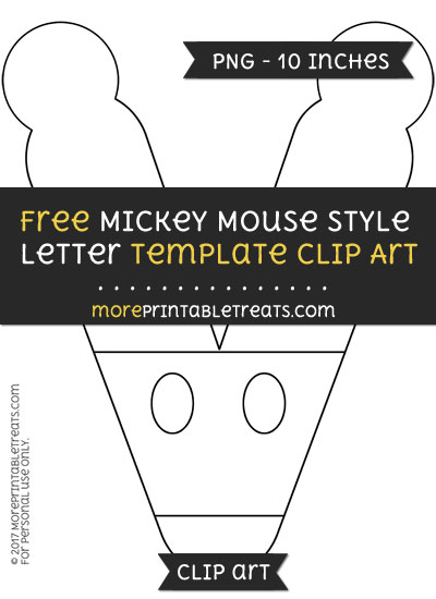Free Mickey Mouse Style Letter V Template - Clipart