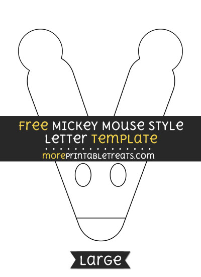 Free Mickey Mouse Style Letter V Template - Large