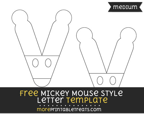Free Mickey Mouse Style Letter V Template - Medium