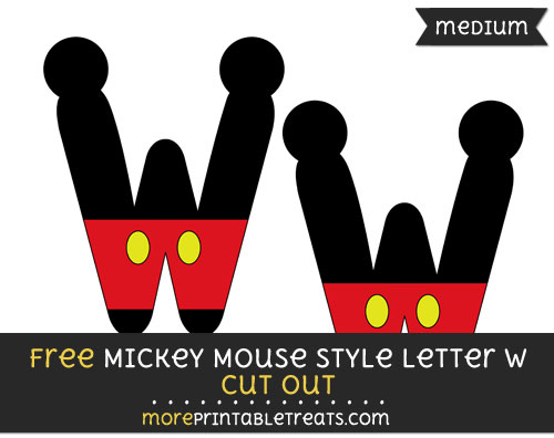 Free Mickey Mouse Style Letter W Cut Out - Medium Size Printable