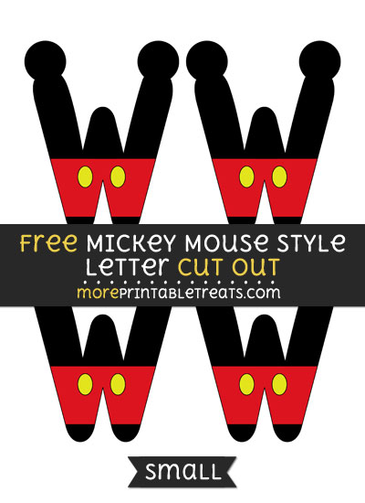 Free Mickey Mouse Style Letter W Cut Out - Small Size Printable