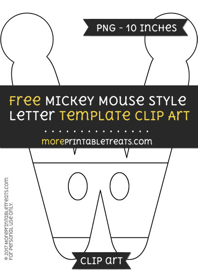 Free Mickey Mouse Style Letter W Template - Clipart