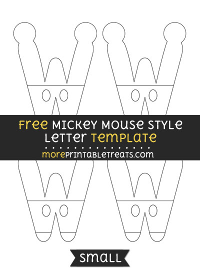 Free Mickey Mouse Style Letter W Template - Small