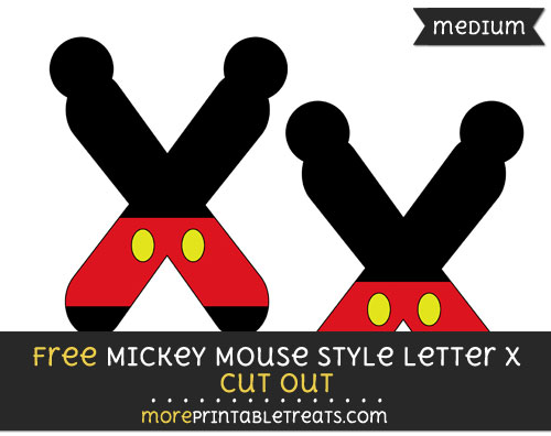 Free Mickey Mouse Style Letter X Cut Out - Medium Size Printable