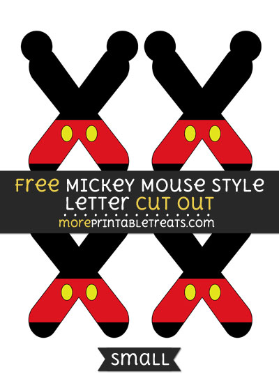 Free Mickey Mouse Style Letter X Cut Out - Small Size Printable