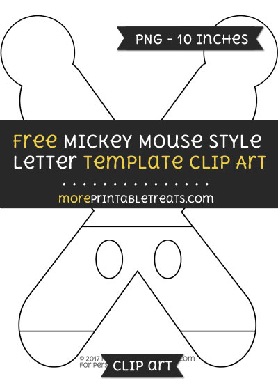 Free Mickey Mouse Style Letter X Template - Clipart