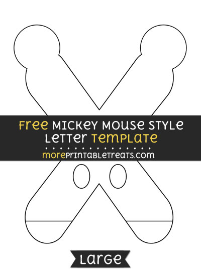 Free Mickey Mouse Style Letter X Template - Large