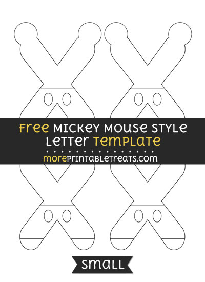 Free Mickey Mouse Style Letter X Template - Small