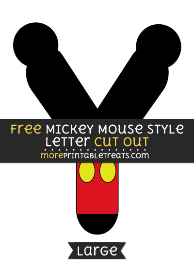Free Mickey Mouse Style Letter Y Cut Out - Large size printable