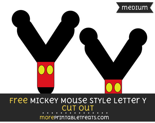 Free Mickey Mouse Style Letter Y Cut Out - Medium Size Printable