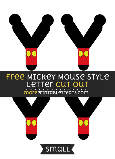 Free Mickey Mouse Style Letter Y Cut Out - Small Size Printable
