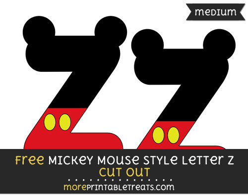 Free Mickey Mouse Style Letter Z Cut Out - Medium Size Printable
