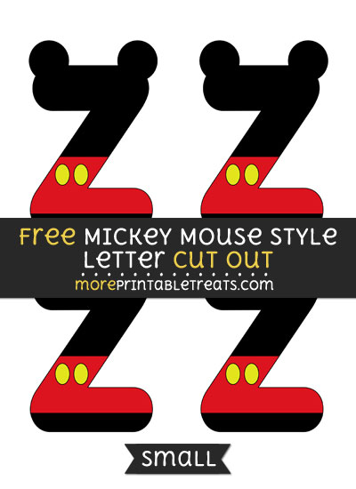 Free Mickey Mouse Style Letter Z Cut Out - Small Size Printable
