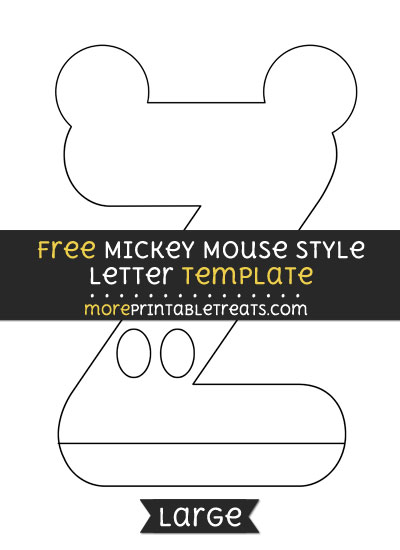 Free Mickey Mouse Style Letter Z Template - Large