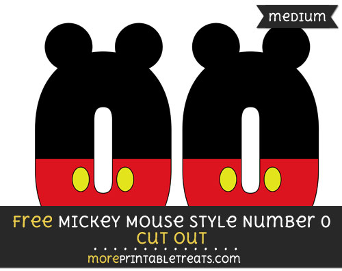 Free Mickey Mouse Style Number 0 Cut Out - Medium Size Printable