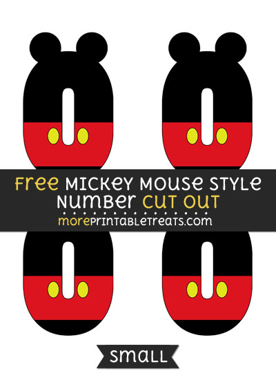 Free Mickey Mouse Style Number 0 Cut Out - Small Size Printable
