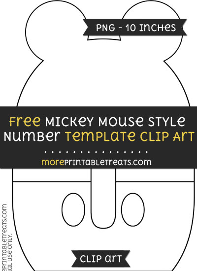 Free Mickey Mouse Style Number 0 Template - Clipart