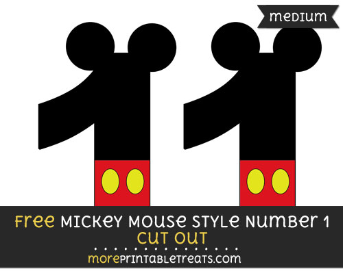 Free Mickey Mouse Style Number 1 Cut Out - Medium Size Printable
