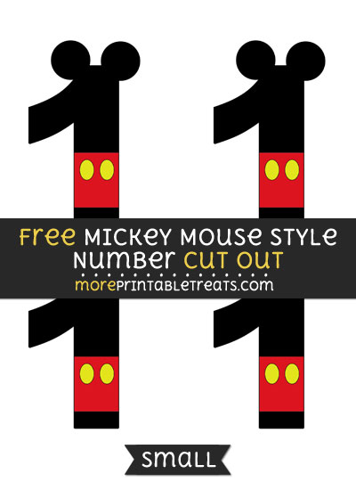 Free Mickey Mouse Style Number 1 Cut Out - Small Size Printable