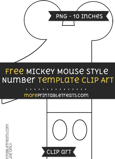 Free Mickey Mouse Style Number 1 Template - Clipart