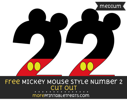 Free Mickey Mouse Style Number 2 Cut Out - Medium Size Printable