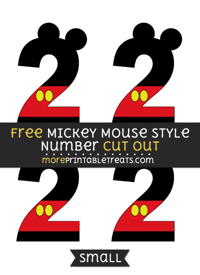 Free Mickey Mouse Style Number 2 Cut Out - Small Size Printable