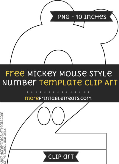 Free Mickey Mouse Style Number 2 Template - Clipart