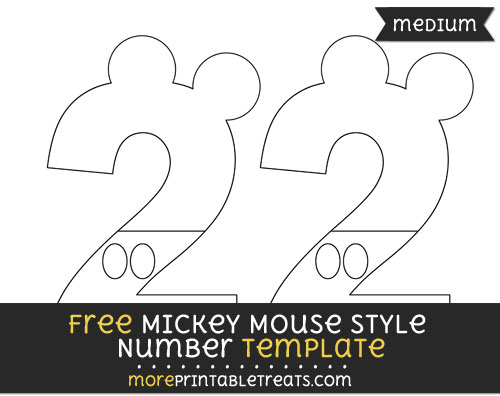 Free Mickey Mouse Style Number 2 Template - Medium