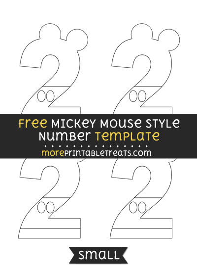 Free Mickey Mouse Style Number 2 Template - Small