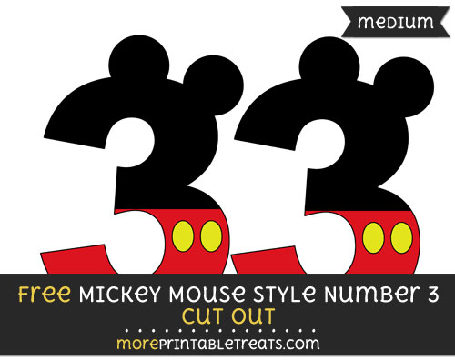 Free Mickey Mouse Style Number 3 Cut Out - Medium Size Printable