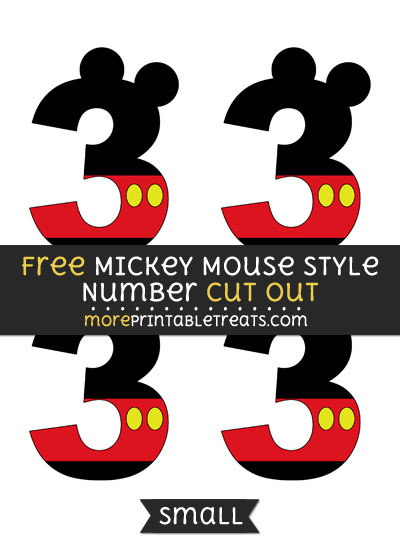 Free Mickey Mouse Style Number 3 Cut Out - Small Size Printable