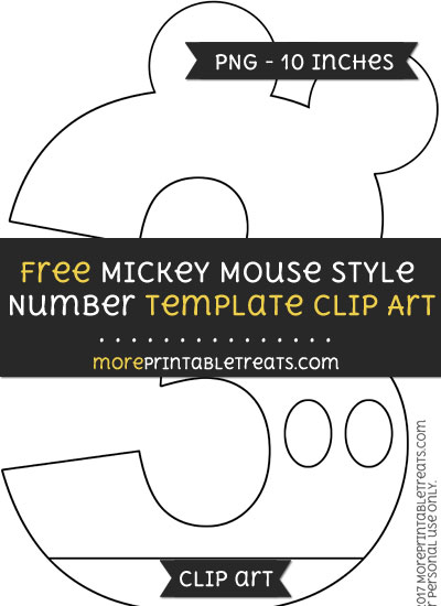 Free Mickey Mouse Style Number 3 Template - Clipart