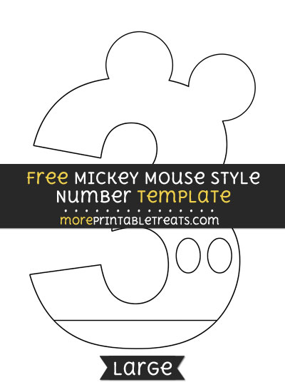 Free Mickey Mouse Style Number 3 Template - Large
